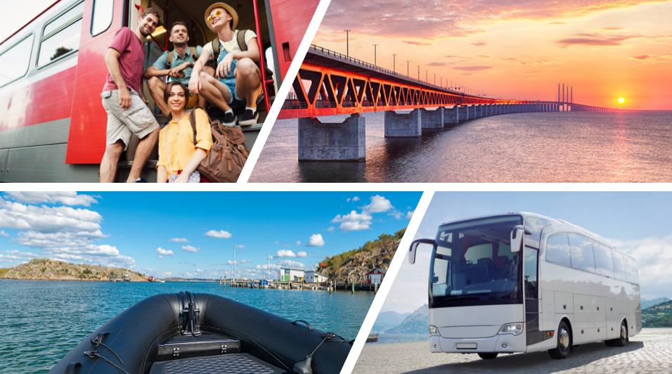 Reis per rib-boot, bus of trein van Kopenhagen naar Malmö.